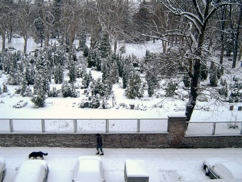 Blick vom Balkon auf den verschneiten Friedhof