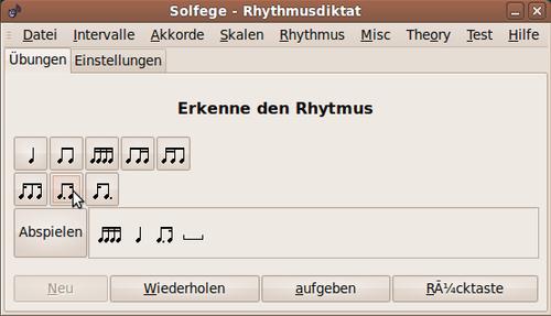 Rhythmusdiktat in solfege